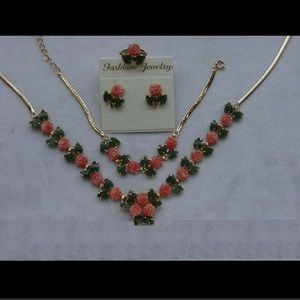 Jewelry - New bridal gold plated coral rose jade leaves set